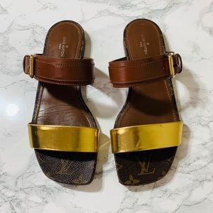 LOUIS VUITTON Monogram Flat Sandals